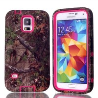 MagicSky Slim Plastic/TPU Tuff Dual Layer Hybrid Case for Samsung Galaxy S5 - Retail Packaging - Camo/Hot Pink
