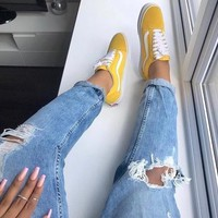 """""""Vans"""" With Warm Casual Shoes Men and women classic black cloth shoes Yellow"""