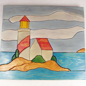 Handcrafted Wooden Intarsia Lighthouse Wall by ronisboutique on Zibbet