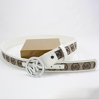 Perfect Michael Kors MK Woman Men Fashion Smooth Buckle Belt Leather Belt
