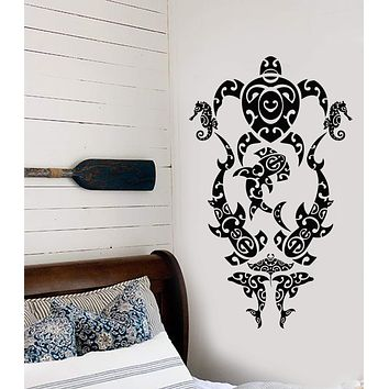 Vinyl Wall Decal Sea Turtle Marine Animals Beach Style Stickers (2900ig)