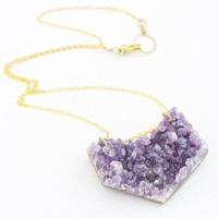 Amethyst Druzy Chevron Shape Deep Purple on Flat Oval Chain
