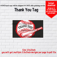 Instant Download, American Baseball tag,  thanks tag, thank you gift ,  Thank you TAG, 3.5x2inch printable , non-editable NOT CUSTOMIZABLE