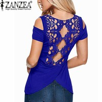 2018 Summer Sexy Women Blouses avail in Colors - Lace Crochet Short Sleeve