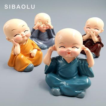 Kawaii Chinese Monks Buddhist Shaolin sculpture statue miniature garden fairy figurines Car toys home decoration accessories