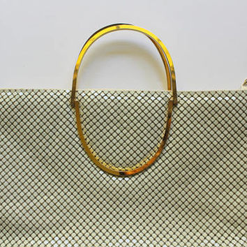 Vintage Bags By Marla White Mesh Gold Handles Clutch Handbag Purse 1960s
