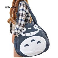 2017 Japan Funny Totoro Bag Cute Women Over Shoulder bags Large Ladies Canvas Cartoon Preppy School Bags for Teenage Girls L989