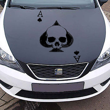 playing cards car hood decal ace Car Decals Truck skulls Side Body Graphics Decal playing cards Sticker for car ikcar125