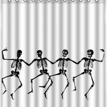 "Custom Skull Skeleton Dance Halloween Shower Curtain 60"" x 72"" - Bathroom Decor(Fabric)"