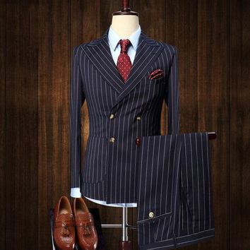 mens suits 2 pieces Vintage Double Breasted Suit Blue White Stripe Terno Slim Fit Large Lapels Wedding Groom Tuxedo Tailcoat Men
