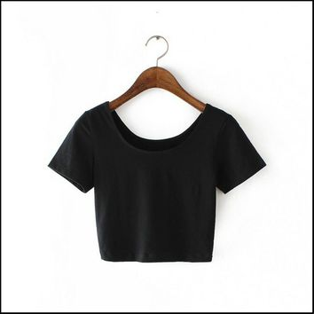 2017 New Women Best Sell U neck Sexy Crop Top Ladies Short Sleeve T Shirt Tee Short T-shirt Basic Stretch T-shirts