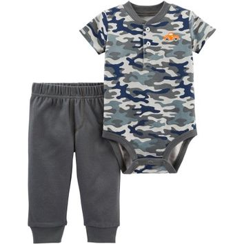 Child of Mine by Carter's Newborn Baby Boy Bodysuit and Pant 2 Piece Set - Walmart.com