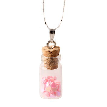 Star Glass Wishing Bottle Charm Unisex Pendant Necklace