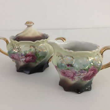 Antique hand painted Art Nouveau porcelain creamer & sugar bowl 1890's Germany
