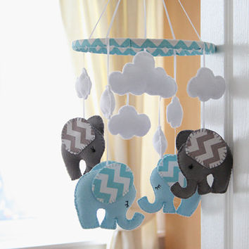Nursery Mobile - Baby - Chevron blue/Grey Elephant Mobile -   MADE TO ORDER