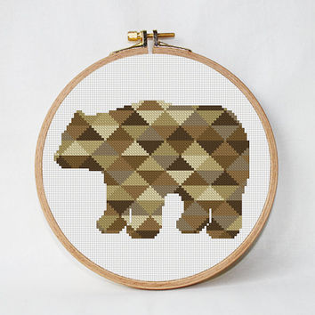 Geometric Bear cross stitch pattern, Mountain Forest Woodland Animals  Nursery baby animal cabin modern triangle counted chart PDF