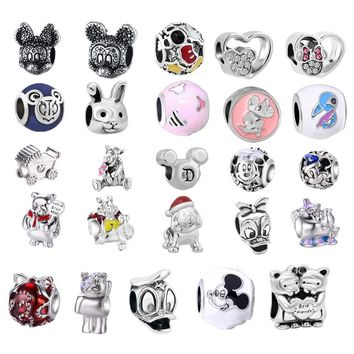 New Silver Plated Bead Charm mickey Pooh Bear and Friends Charm  Pendant Beads Fit Women Pandora Bracelet & Bangle DIY Jewelry