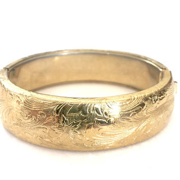 Victorian Revival Etched Gold Tone Bangle, Hinged Bangle, Floriated Design Motif, Vintage Statement Bangle Bracelet