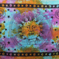 Celestial Sun Moon Stars Tie Dye Tapestry, Hippie Hippy Wall Hanging, Indian Tapestry, Sun-Moon Tapestry, Psychedelic Celestial Tapestry,