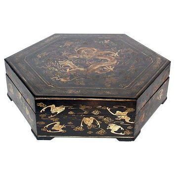 Pre-owned Antique Chinese Hexagon Lacquer Box