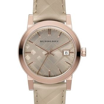 Burberry 'The City' Leather Strap Watch, 34mm | Nordstrom
