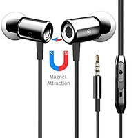 Earbuds Earphones Headphones, VANTEN [Magnetic Wired Earphones][In-Ear Headphones][Earbuds with Mic][Stereo Headsets] 3.5mm Jack for iPhone 6 6s Plus iPad Note Android Phone Tablet Computer PC (black)