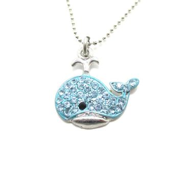 Super Cute Whale Shaped Blue Rhinestone Pendant Necklace | DOTOLY