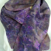 Silk Crepe Scarf Lavender Night large long hand painted dyed
