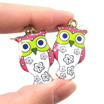 Owl Bird Shaped Illustrated Resin Dangle Earrings In Pink and White | DOTOLY