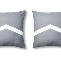 Geo 20x20 Outdoor Pillows, Gray, Set of 2, Decorative Pillows