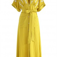 Just an Illusion Embroidered Dress in Yellow
