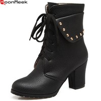 MoonMeek 2018 hot sale new arrive women boots round toe lace up ladies boots black white Light brown ankle boots plus size 33-45