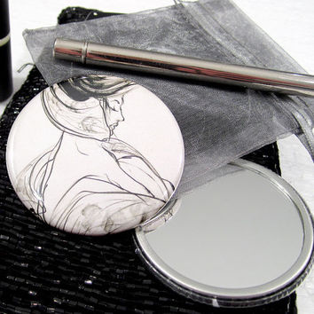 "Elegant and Feminine Travel Size Pocket Mirror. 2.25"" Diameter. Fits in Your Palm."
