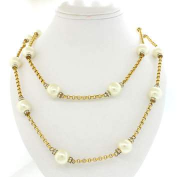 Exquisite Chanel 12mm Pearl & Crystal Cable Link Chain Necklace 68.5""