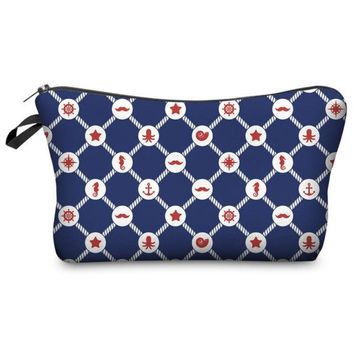 Awesome Multi Symbol Geometric Printed Zippered Cosmetic Bag Nautical Mustache Anchor Seahorse Theme