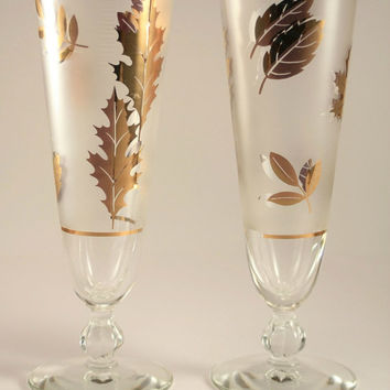 Vintage Libbey Frosted Gold Leaf Pilsner/ Beer Glass