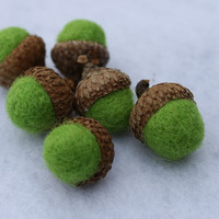 6 Wool Felted Acorns in a Lime Green Color by Stitchcrafts on Etsy