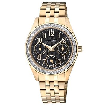 Citizen Quartz Ladies Crystal  Watch - Black Dial - Gold-Tone - Multifunction