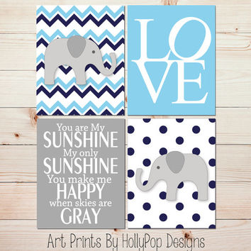 Boy Nursery Wall Decor You are My Sunshine Wall Art Modern Elephant Nursery Art Prints Sky Blue Navy Gray Nursery Quad Print Set 0907