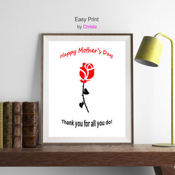 Happy mother's day print, Modern minimalist art, Gift from daughter, Rose for mom, Rose print, Greeting card for mom, Red black, Download