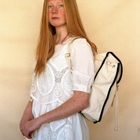 White & Navy Heap Line Backpack - Handcrafted street style backpack - Vintage inspired retro bag