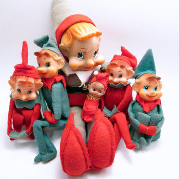 Vintage Baby Elf - Red Knee Hugger - Elf Prank Mischief - Christmas Holiday Fun - cottage chic decoration (r2)
