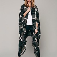 Free People Womens Printed Duster Scarf - Twilight Combo M/L
