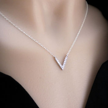 CZ V necklace, V diamond pendant in gold or silver, small cz pendant necklace for layering