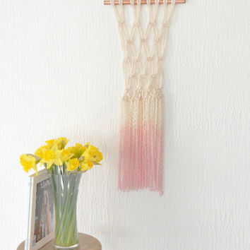 Macrame Hanging Dip Dyed Dusky Pink on Copper Pipe
