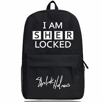 Hot TV Sherlock Bag Name Print Boys Girls School Bag Sherlock Backpack Cosplay Sherlock Backpack