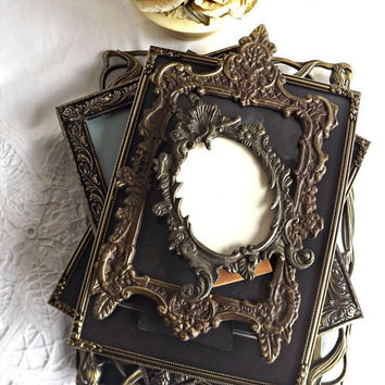 FALL SALE Picture Frame Lot, Shabby Chic Frames, French Farmhouse Decor, Cottage Chic, Mixed Metal Frames, Family Photos, Wedding Pictures