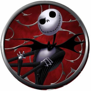Nightmare Before Christmas Jack Skellington On Red Cool 18MM - 20MM Charm for Snap Jewelry New Item