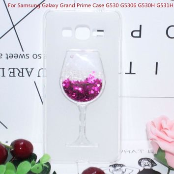 "Soft Silicone Case For Samsung Galaxy Grand Prime G5306 G530H G531H 5"" Quicksand Rhinestone Red Wine Glass Pattern Fundas Capa"