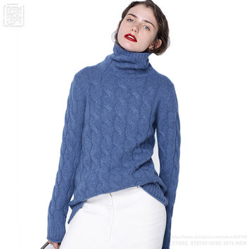 2017 Starting Women Wool Cashmere Turtleneck Allover Cable Knit Pullover Sweaters Thick Flexible Twist Soft Close-fitting Hot